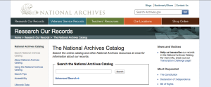 National Archives Catalog Home Page (detail)